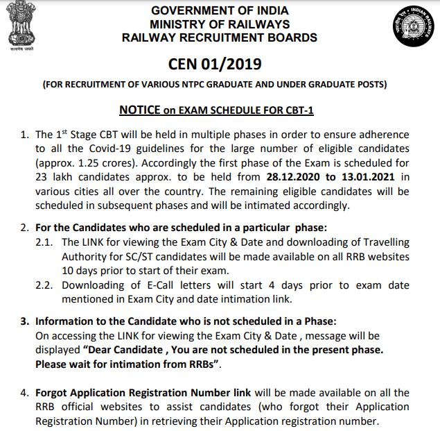 Railway NTPC Admit Card Pdf Download