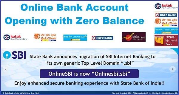 Online Bank Account Opening with Zero Balance