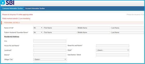 SBI Online Account Opening Zero Balance