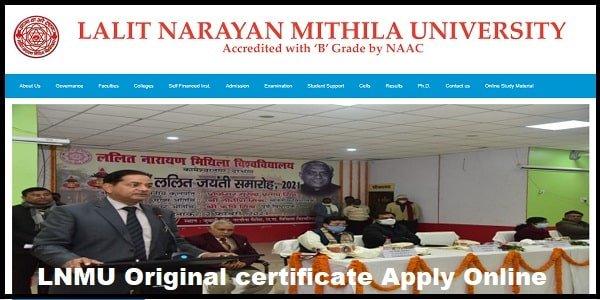 lnmu original certificate apply online