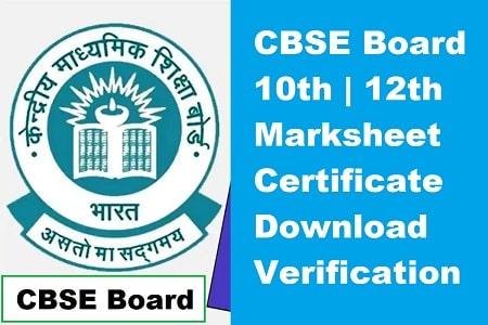 CBSE Board Marksheet Certificate Download verification 2021