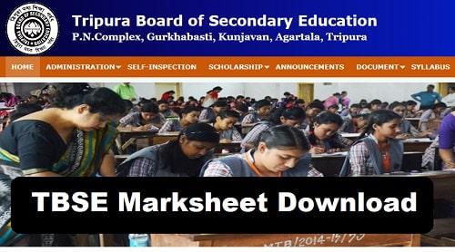 TBSE Marksheet Download