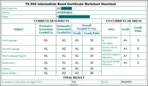 TS SSC Intermediate Board Certificate/ Marksheet Download 2021