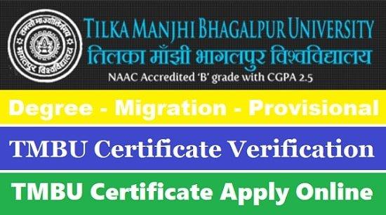 TMBU Original Degree Certificate / Migration / Provisional Certificate & Marks Sheet Apply